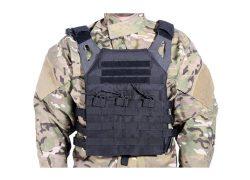 Chaleco Plate Carrier Negro Delta Tactics V18 + 2 Placas de Protección Dummy